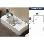 [product_id], Раковина подвесная Melana MLN-9048 DR 40 см, чаша справа, , 4 410 руб., MLN-9048 DR 40 см, чаша справа, Melana, Встраиваемые сверху