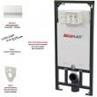 Инсталляция для подвесного унитаза AlcaPlast Sadromodul A101/1120+М1720-1 (клавиша хром глянец)