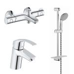 [product_id], Комплект смесителей для ванной комнаты Grohe Eurosmart с термостатом Grohe Grohtherm 800 124422, , 15 680 руб., Grohe Eurosmart 124422, Grohe, Комплекты смесителей для ванной комнаты